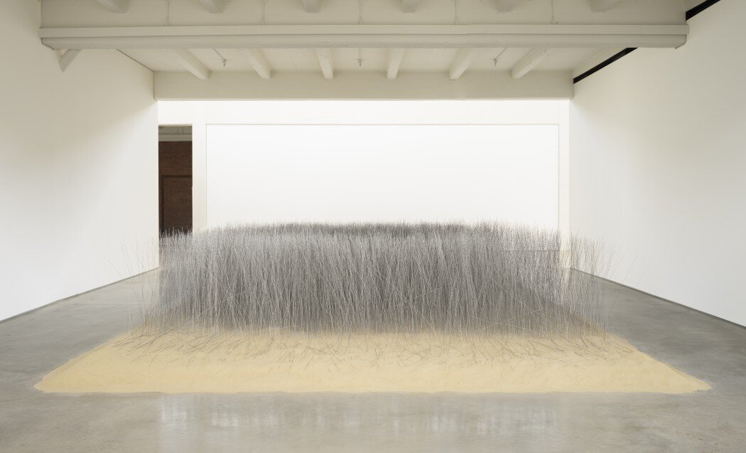 Relatum (formerly Iron Field), 1969/2019, sand and steel, Dia Art Foundation; Purchased with funds by the Samsung Foundation of Culture